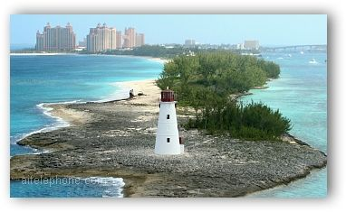The lighthouse that sits on the tip of Paradise Island, Nassau, Bahamas
