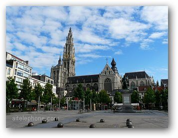 Old City Square Antwerp Cathedral Belgium