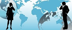 International business people communicate via global conference call