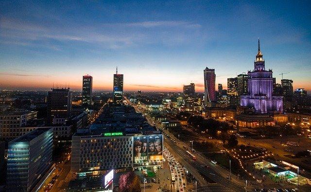 Warsaw Poland at night