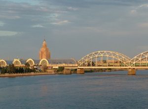 Latvia Riga Daugava Bridge