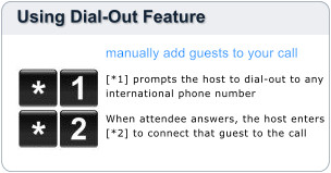 Easily add participants to your call typically at lower dial-out rates