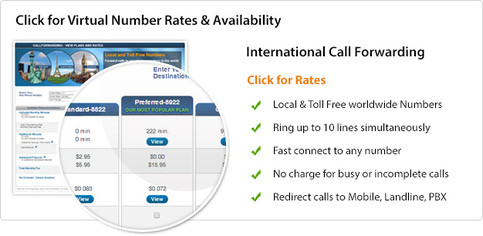 Click to view toll free call forwarding rates and local number availability