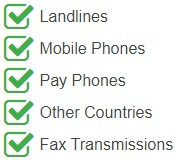 Callers can reach these numbers from landlines, mobile phones, pay phones, fax transmissions and other countries.