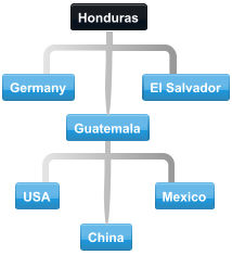 Example of Honduras conference call flow with participants located in USA, Germany, El Salvador, Guatemala, USA, Mexico and China