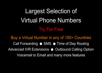 Largest Selection of Virtual Numbers 150+ Countries • Try For Free • Choose Your Number | Divert Calls to Any Mobile, Landline or VoIP - SMS - Voicemail to Email - Time of Day Routing