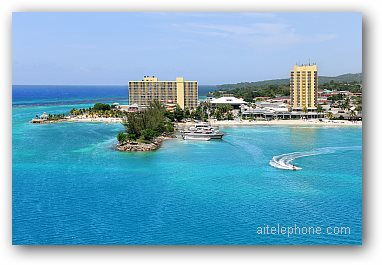 Aerial view of Ocho Rios, Jamaica in the Caribbean