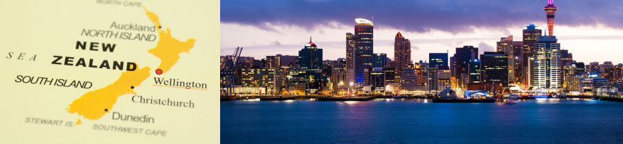 Skyline photo of the biggest city in the New Zealand, Auckland. The photo was taken after sunset across the bay.