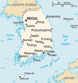 South Korea Map CIA