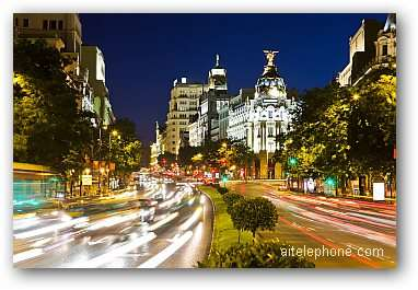 Street traffic at night Madrid, Spain