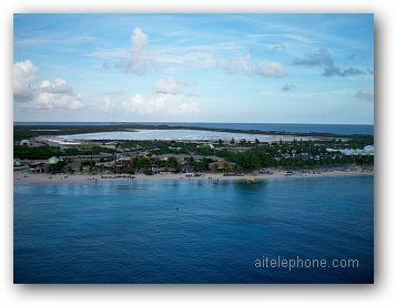 Wide shot of the shoreline at the island of Grand Turk in the Turks & Caicos Islands